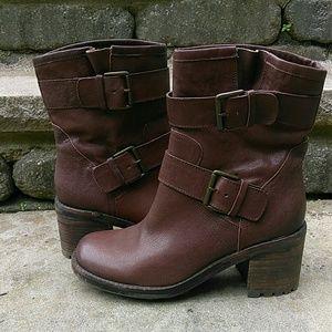 411a22a2aa8fc Sam Edelman Shoes - Sam Edelman Troy Brown Leather Moto Boots 8.5 M